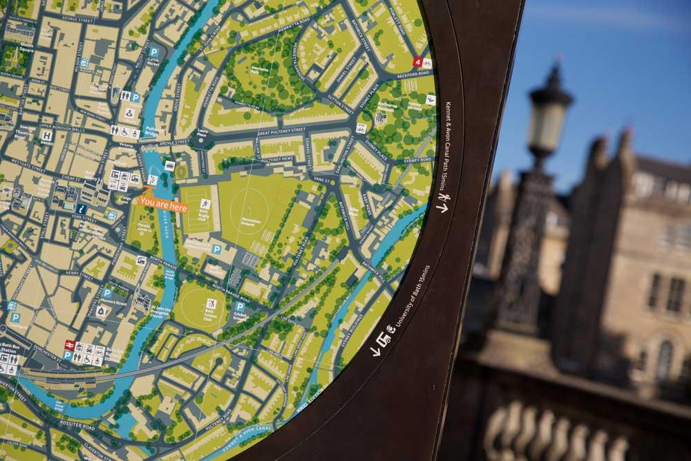 Mapa de Bath para el Christmas Market